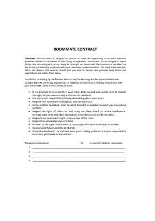 Roommate Agreement Contract