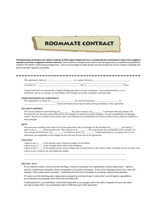 Roommate Contract Form