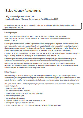 Sales Agency Agreements