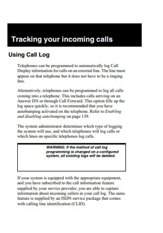 Sales Call Tracking Logs
