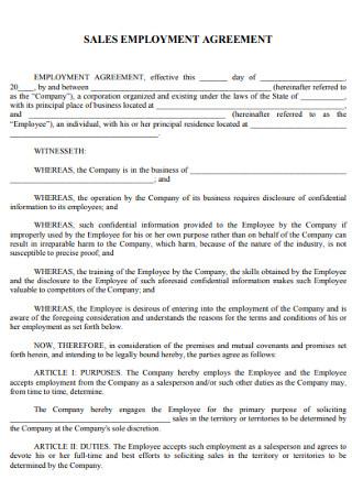 Sales Employement Agreement
