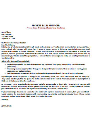 Sales Executive Cover Letter
