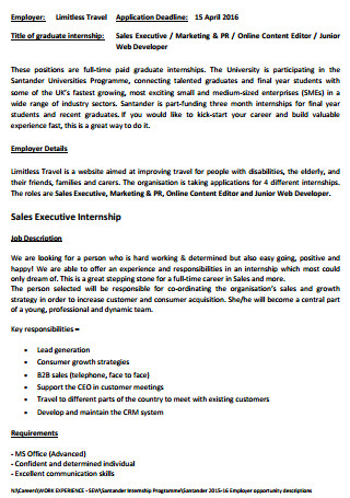 Sales Executive Internship letter