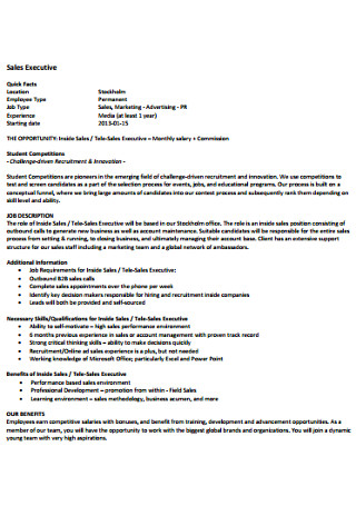 Sales Executive letter