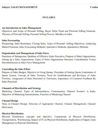 Sales Management Plan