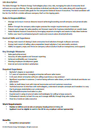 Sales Manager Executive Cover Letter