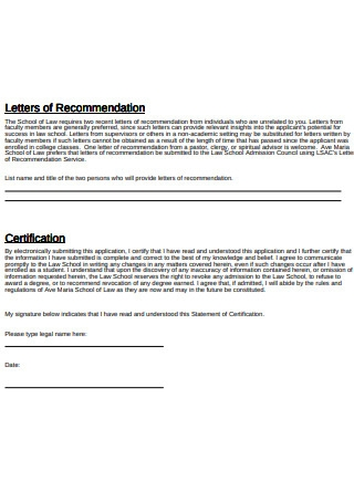 Sample Application Letter of Recommendation
