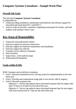 Sample Computer System Work Plan
