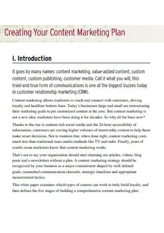 Sample Content Marketing Plan
