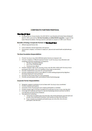 Sample Corporate Partner Proposal