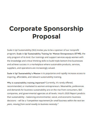 Sample Corporate Sponsorship Proposal