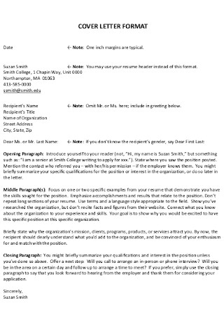 Sample Cover Letter Format of Resume