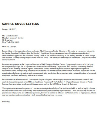 Sample Cover Letter Formats