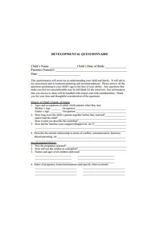 Sample Developmental Questionnaire
