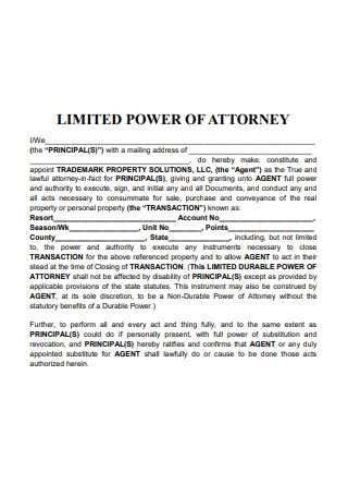 Sample Durable Limited Power of Attorney