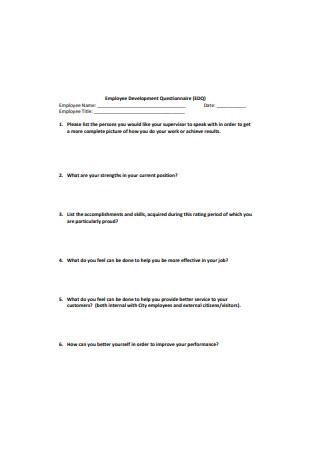 Sample Employee Development Questionnaire