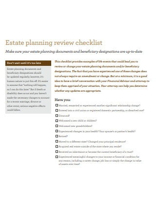 Sample Estate Planning Review Checklist