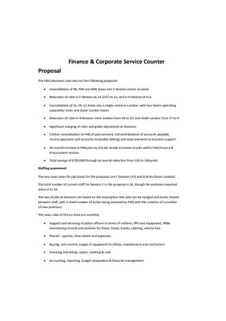 Sample Finance and Corporate Service Counter Proposal