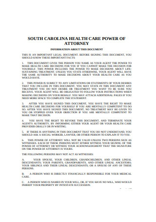 Sample Health Care Power of Attorney