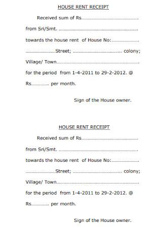 Sample House Rent Receipt