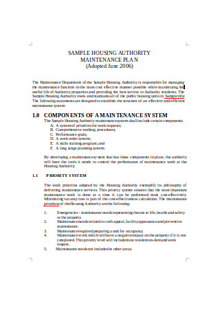 Sample Housing Authority and Maintenance Plan