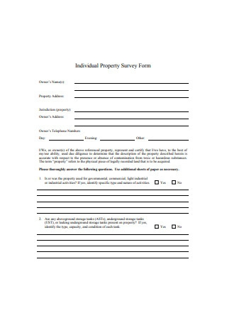 Sample Individual Property Survey Form