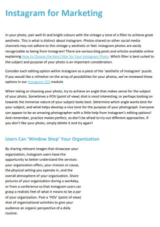 Sample Instagram for Marketing in PDF