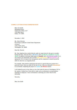 Sample Intership Letter of Recommendation
