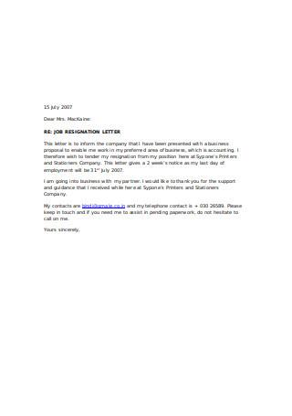 Sample Job Resignation Letter Example