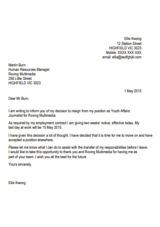 33 Sample Standard Job Resignation Letter Templates In Pdf Ms Word
