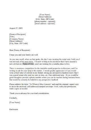 Sample Landlord Reference Letter
