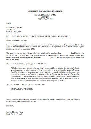 Sample Landlord Security Deposit Return Letter