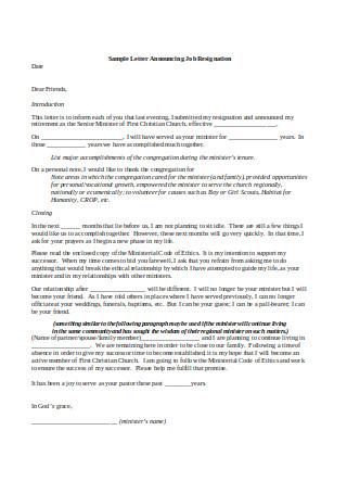 Sample Letter Announcing Job Resignation
