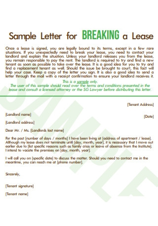 Sample Letter for Breaking Lease