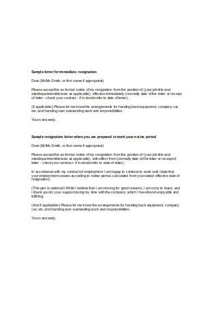 Sample Letter for Immediate Resignation1