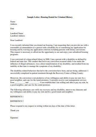 Sample Letter of Housing Denial