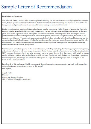 Sample Letter of Recommendation for Committee