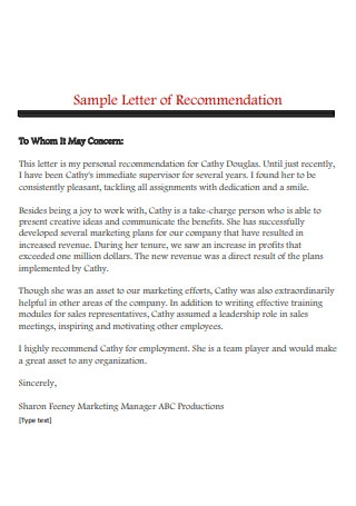 Sample Letter of Recommendations