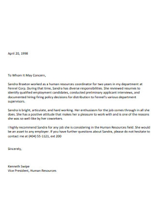 Sample Letters of Recommendation High School