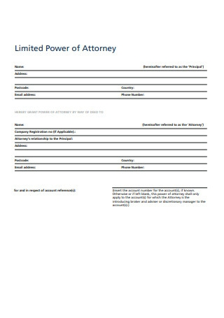 Sample Limited Power of Attorney