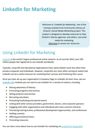 Sample LinkedIn marketing