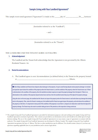 Sample Living with Your Landlord Agreement