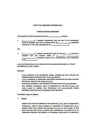 Sample Manufacturing Agreement