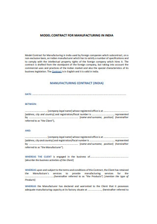 Sample Manufacturing Contracts1