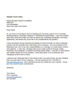 Sample Marketing Manager Cover Letter