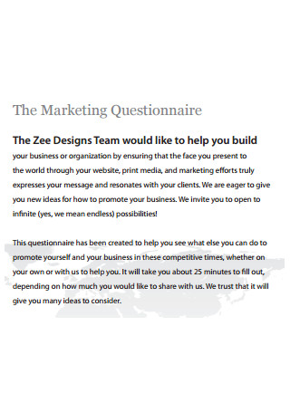 Sample Marketing Questionnaire