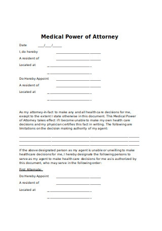 Sample Medical Power of Attorney