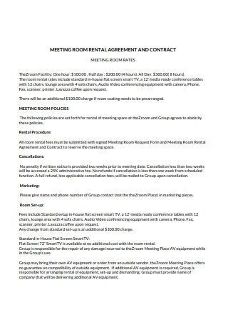 Sample Meeting Room Rental Agreement and Contract