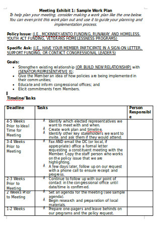 Sample Meeting Work Plan