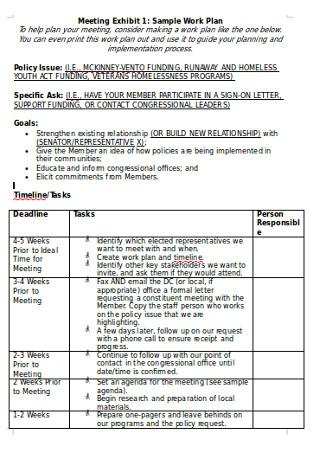 Sample Meeting Work Plan